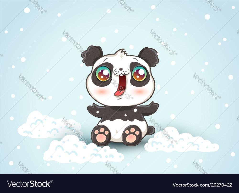 Cute panda on snow