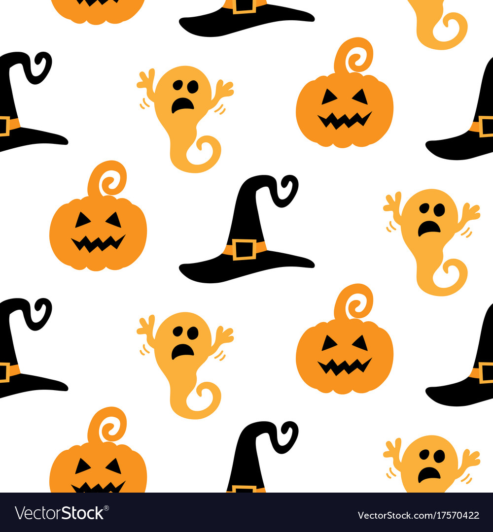 Halloween seamless pattern with ghosts witch hats