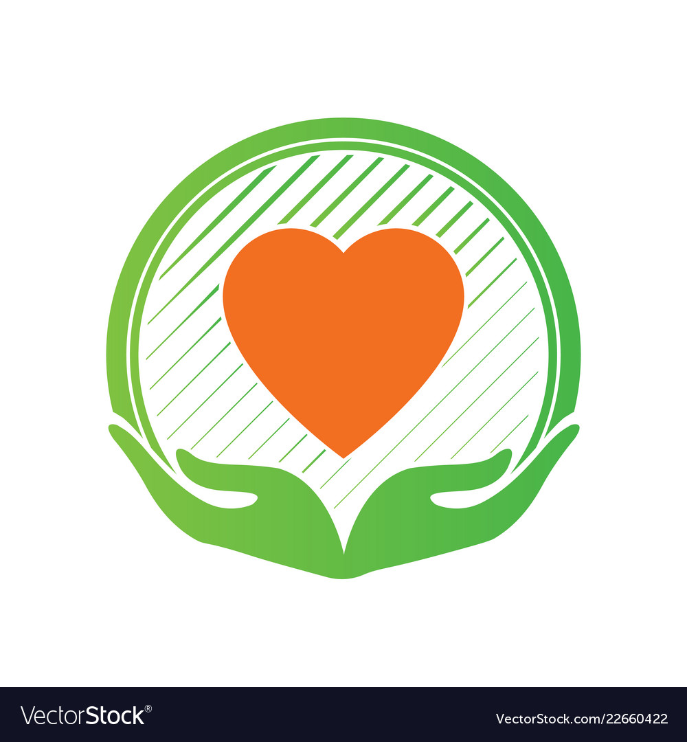 Hand and love logo icon and sign in charity and