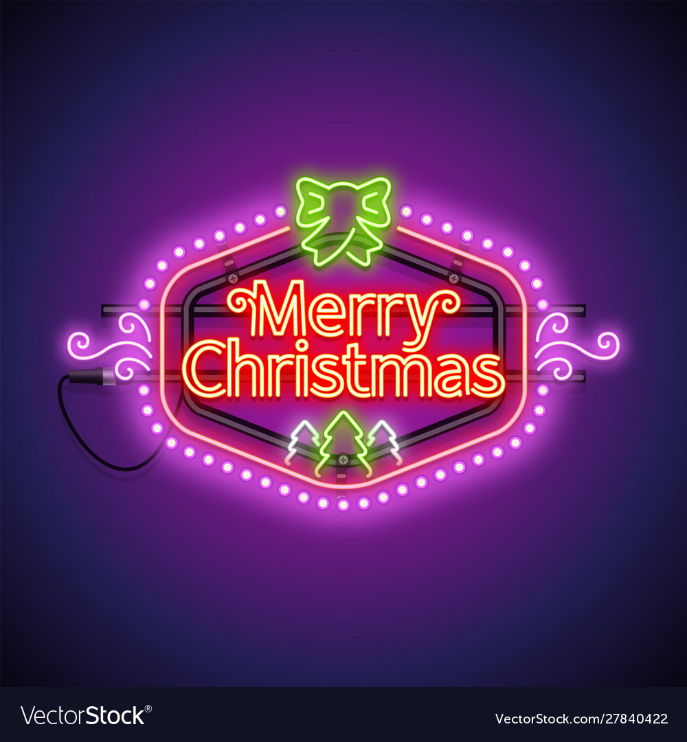 Merry christmas neon sign violet