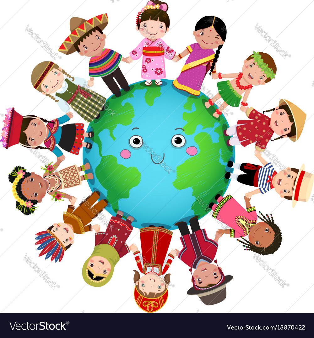 Multicultural: Multicultural Children Holding Hand Around The Vector Image