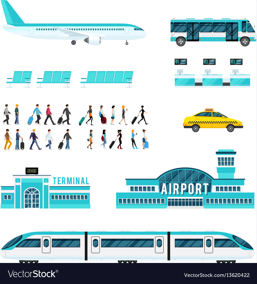People transport and airport icons set