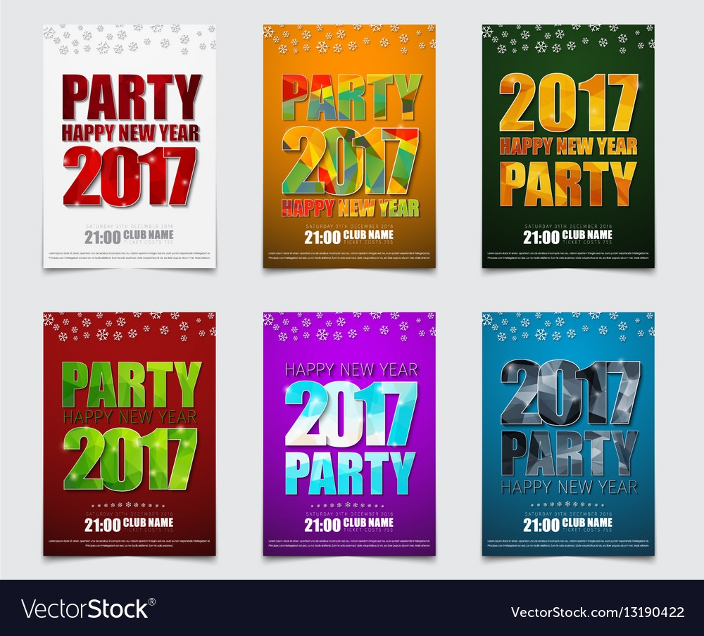 Set of color posters for the new years party in