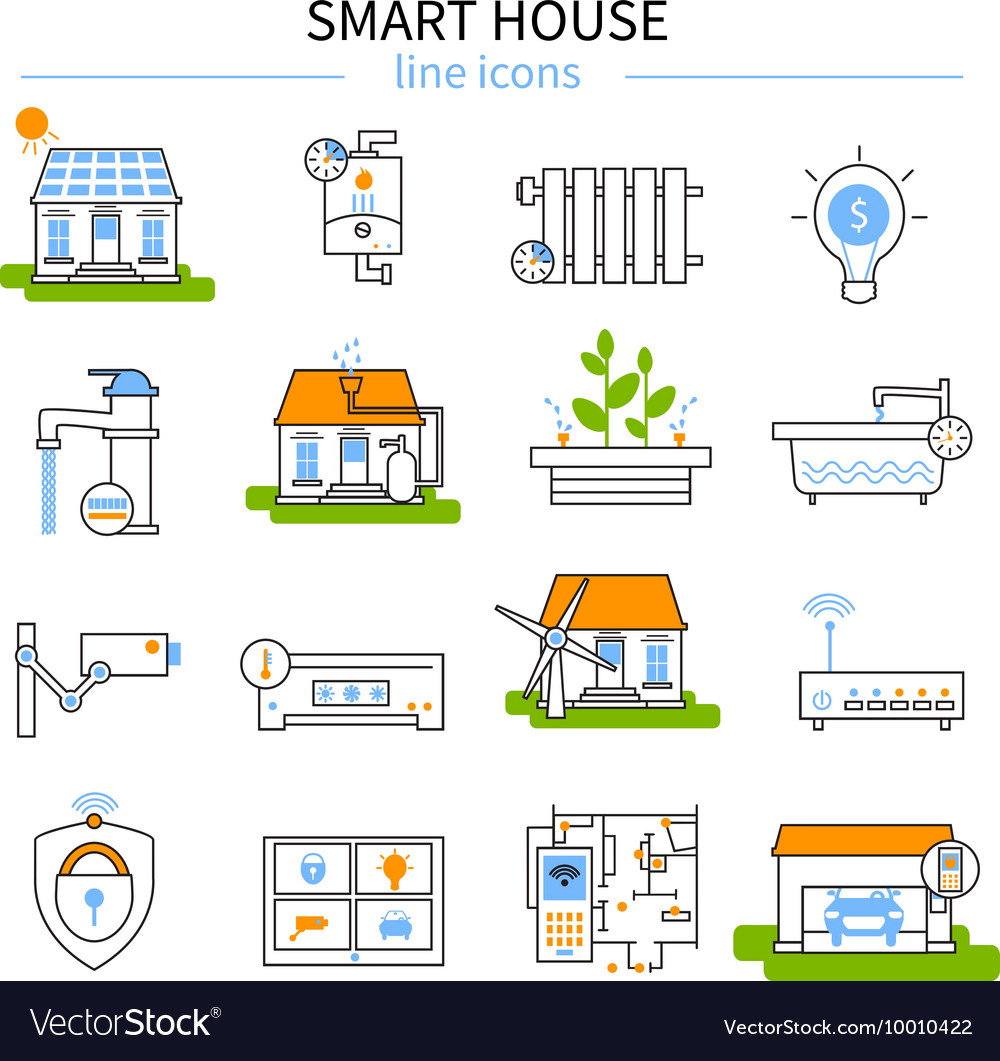 Smart House Line Icon Set