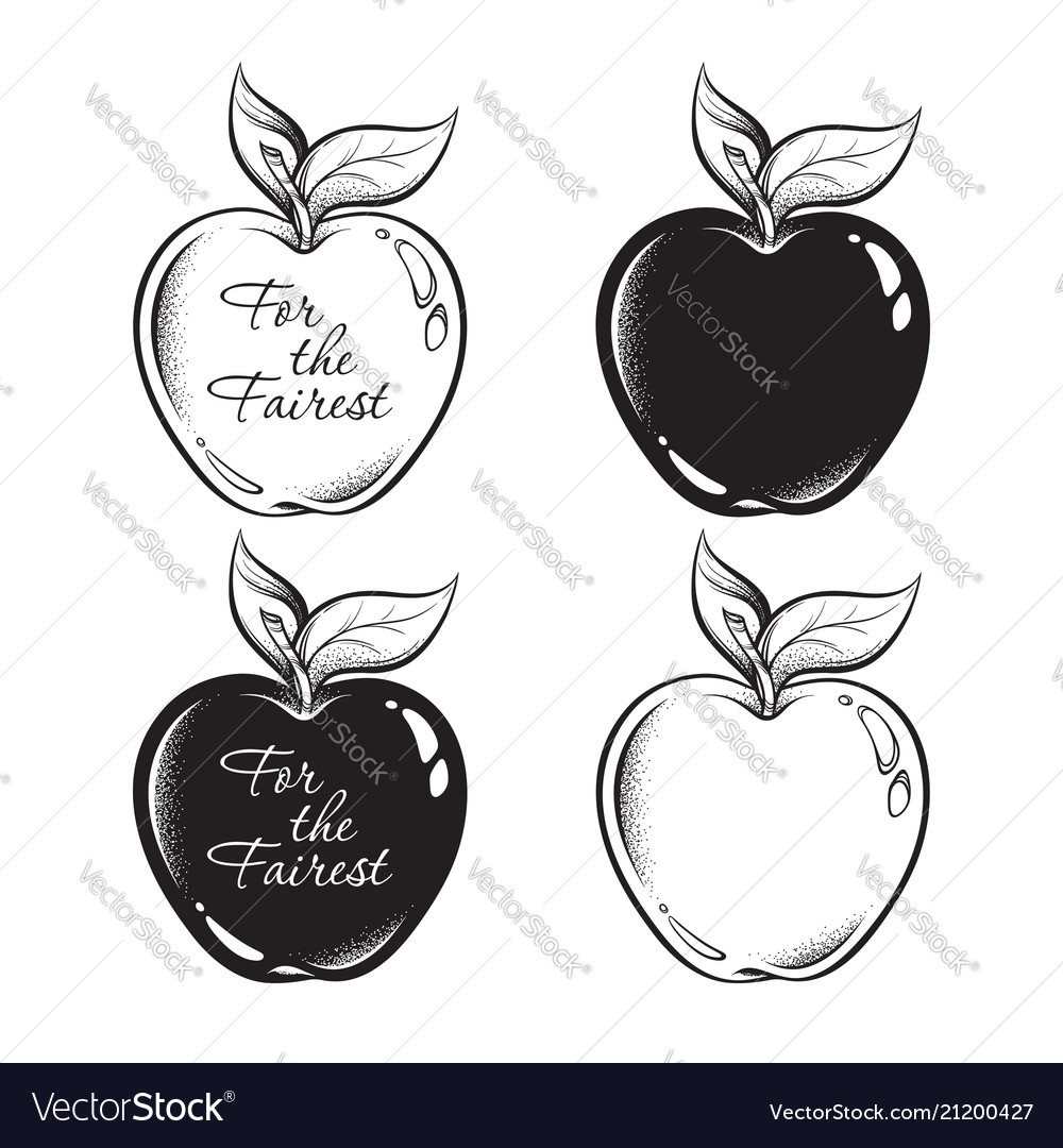 Apple of discord line art and dot work hand drawn