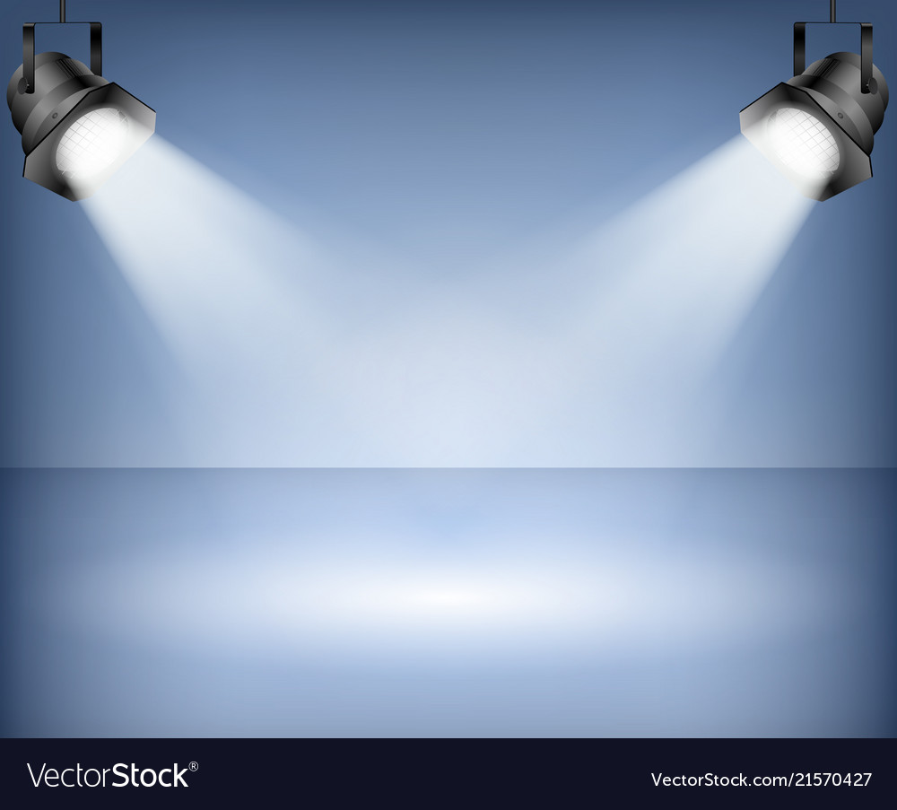 Blue background with spotlights studio