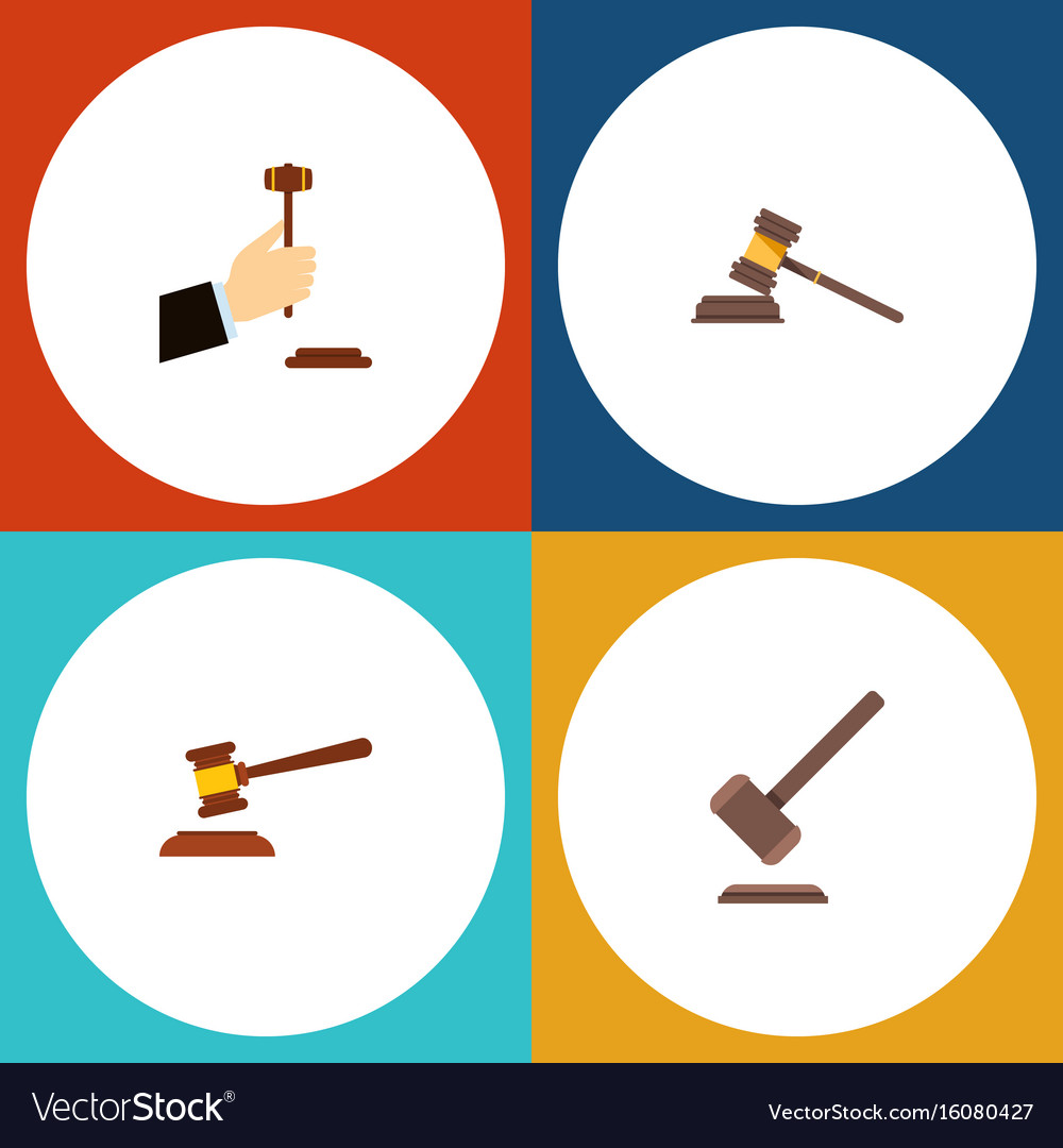Flat icon court set of law hammer court and