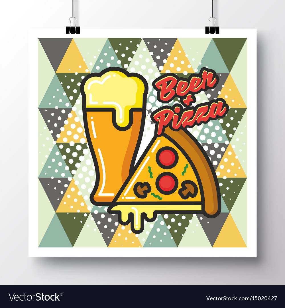 Food icons poster on a vintage pattern