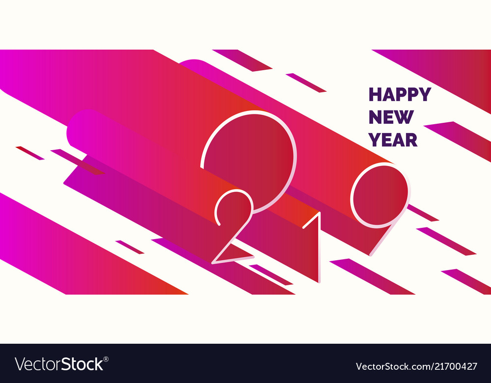 Happy new year poster 2019 modern abstract