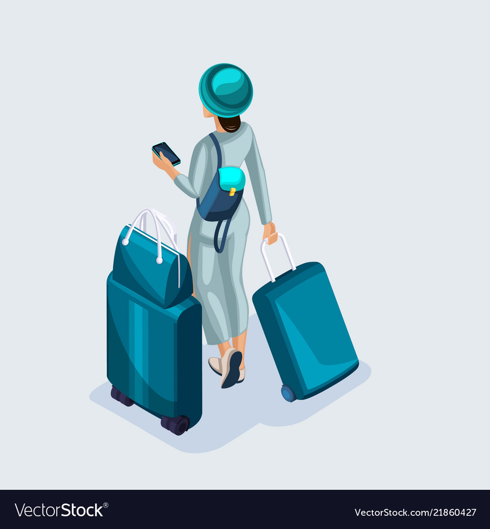 Isometric young girl at the airport and waiting
