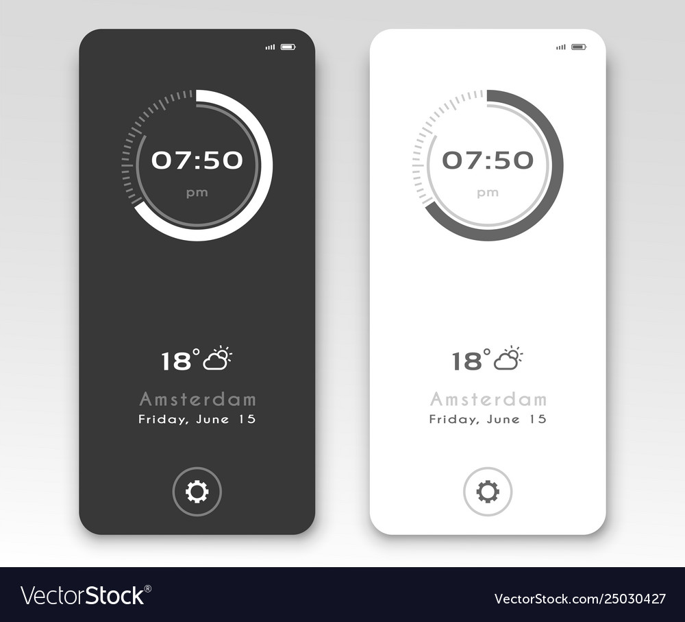 Mobile application interface design clock
