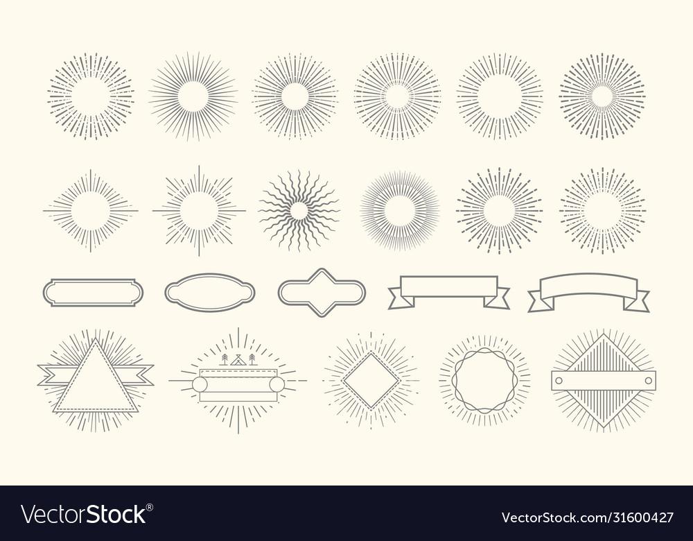 Retro starburst set vintage sunburst graphic