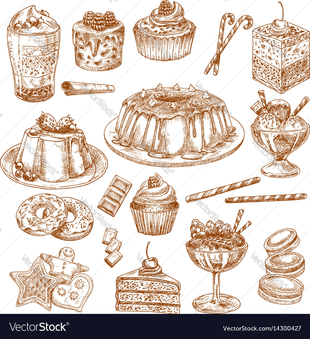 Sketch icons of cake desserts and pastry