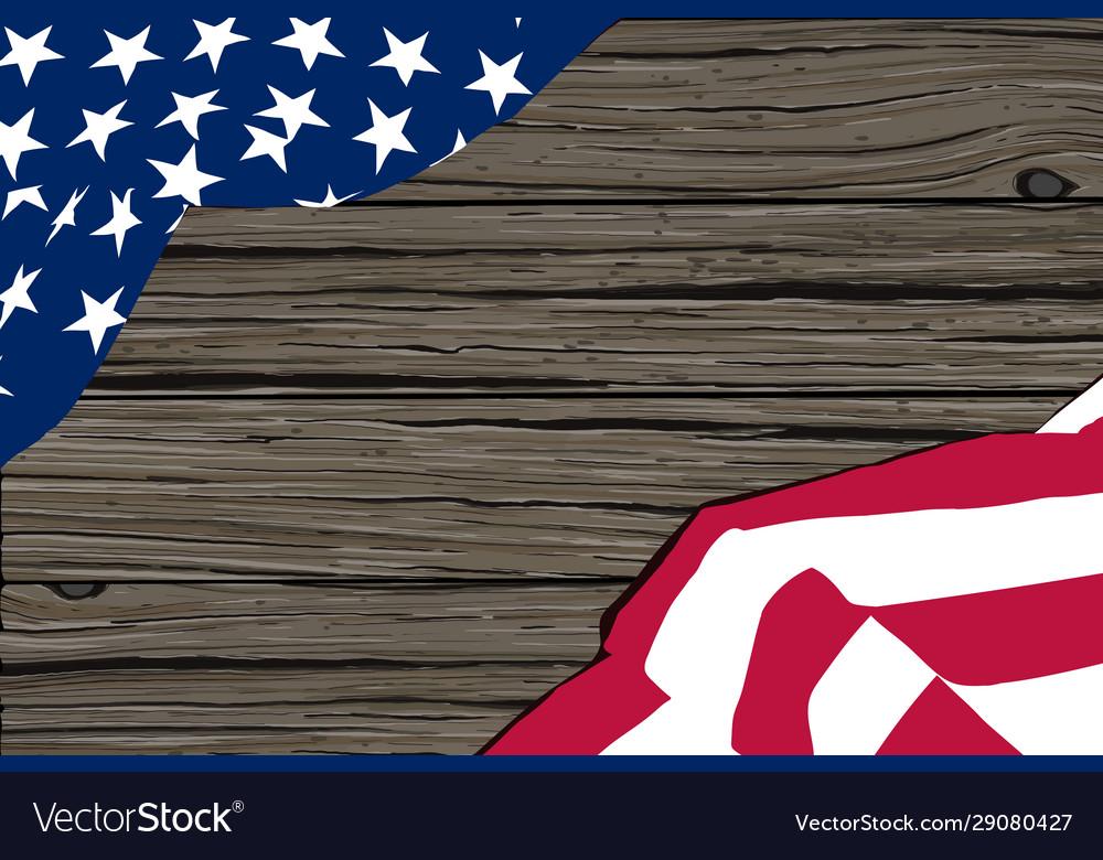 Us flag wooden