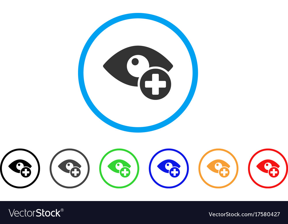 Vision Medical Cross Rounded Icon Royalty Free Vector Image