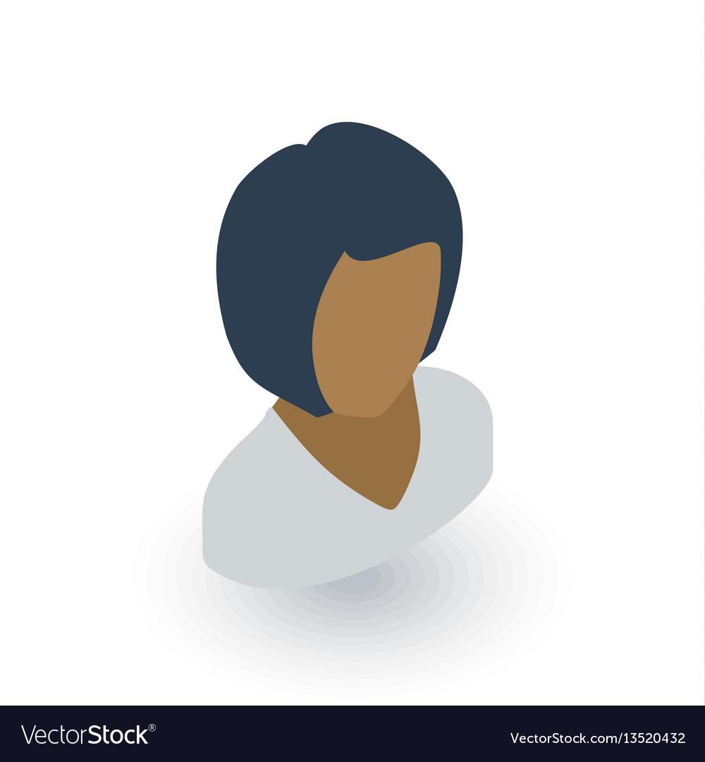 Avatar black woman isometric flat icon 3d