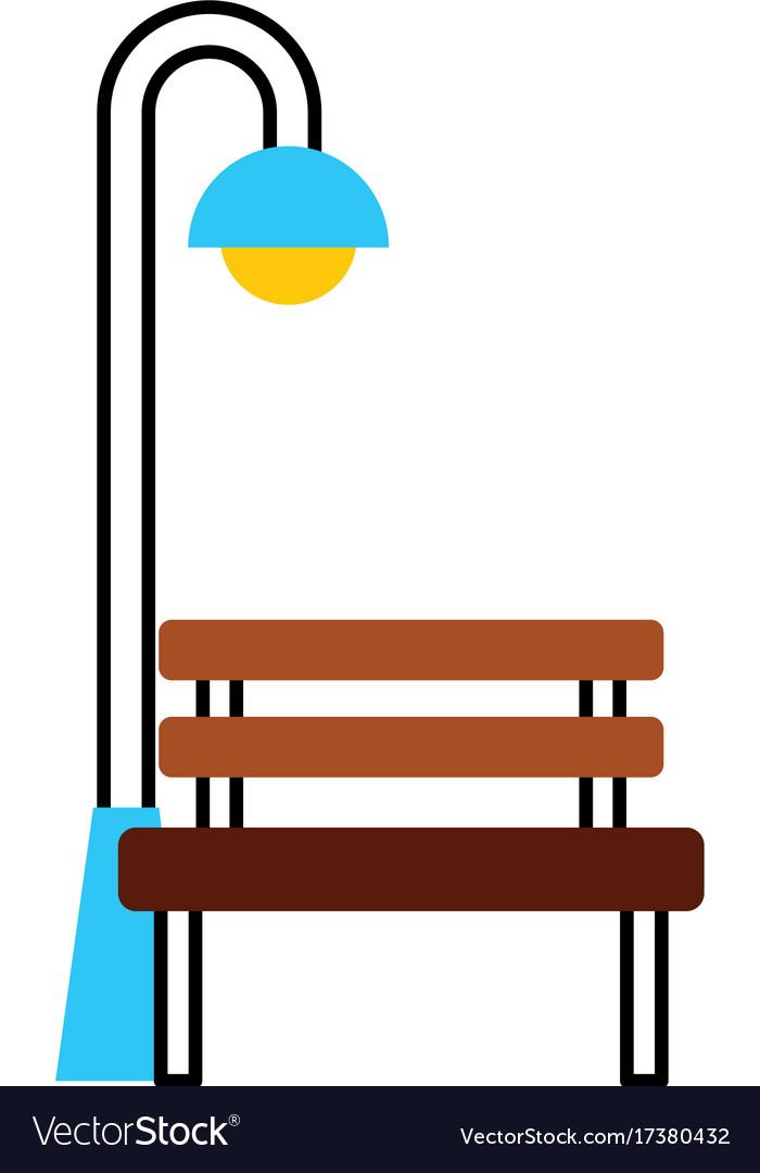 Bench and street lamp post light bulb decoration vector image aloadofball Choice Image