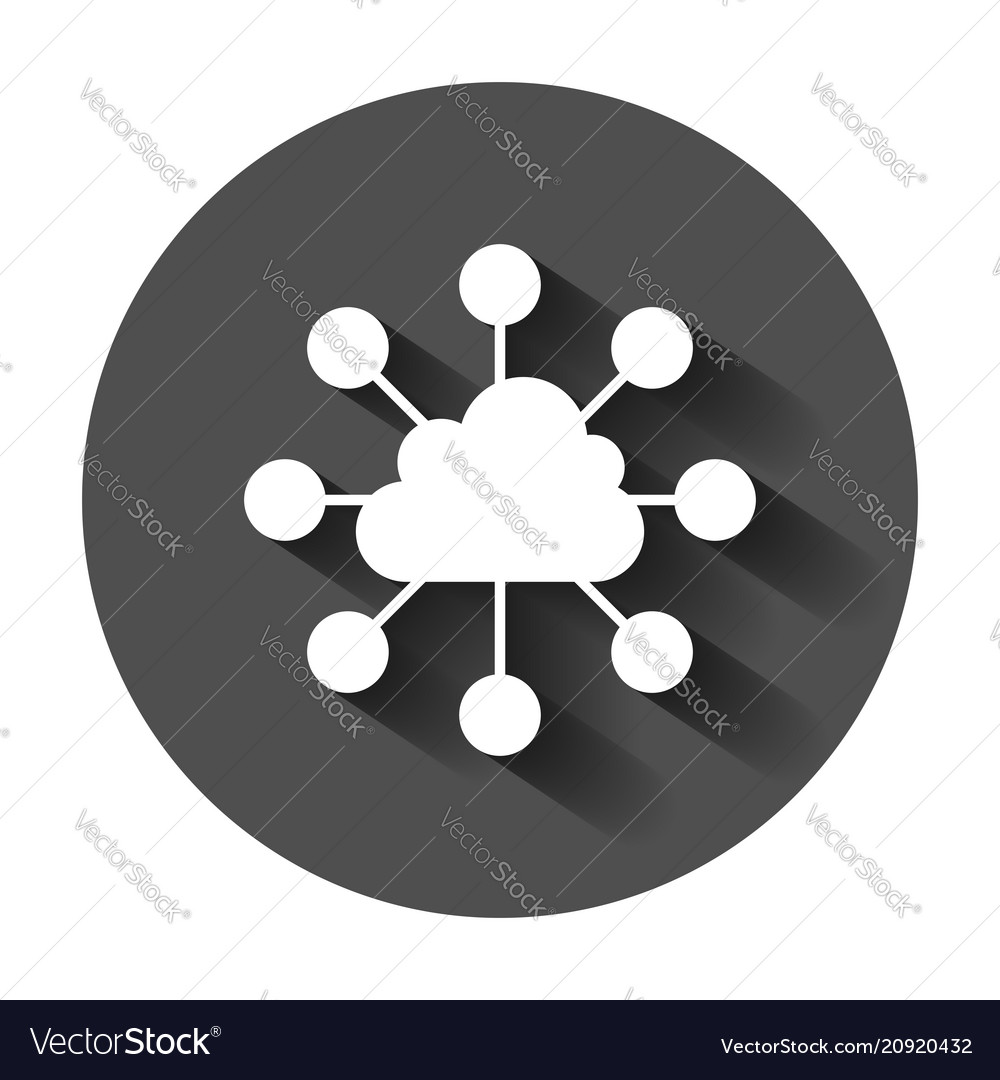 Cloud computing technology icon in flat style