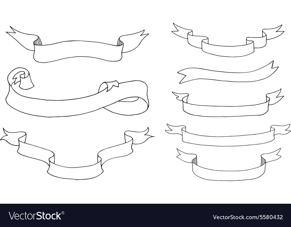 Collection of hand drawn ribbons vector image