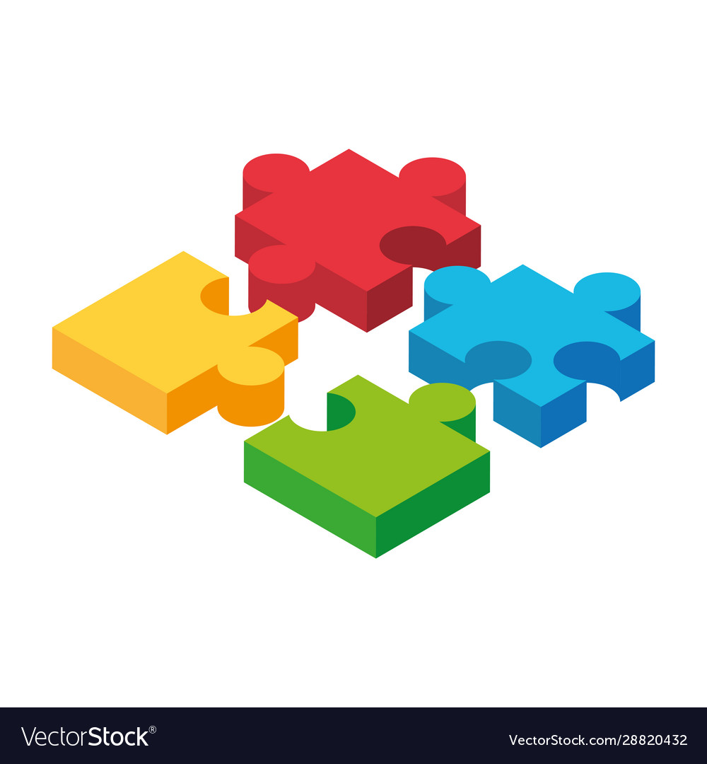 Colorful Puzzle Pieces On White Background Vector Image