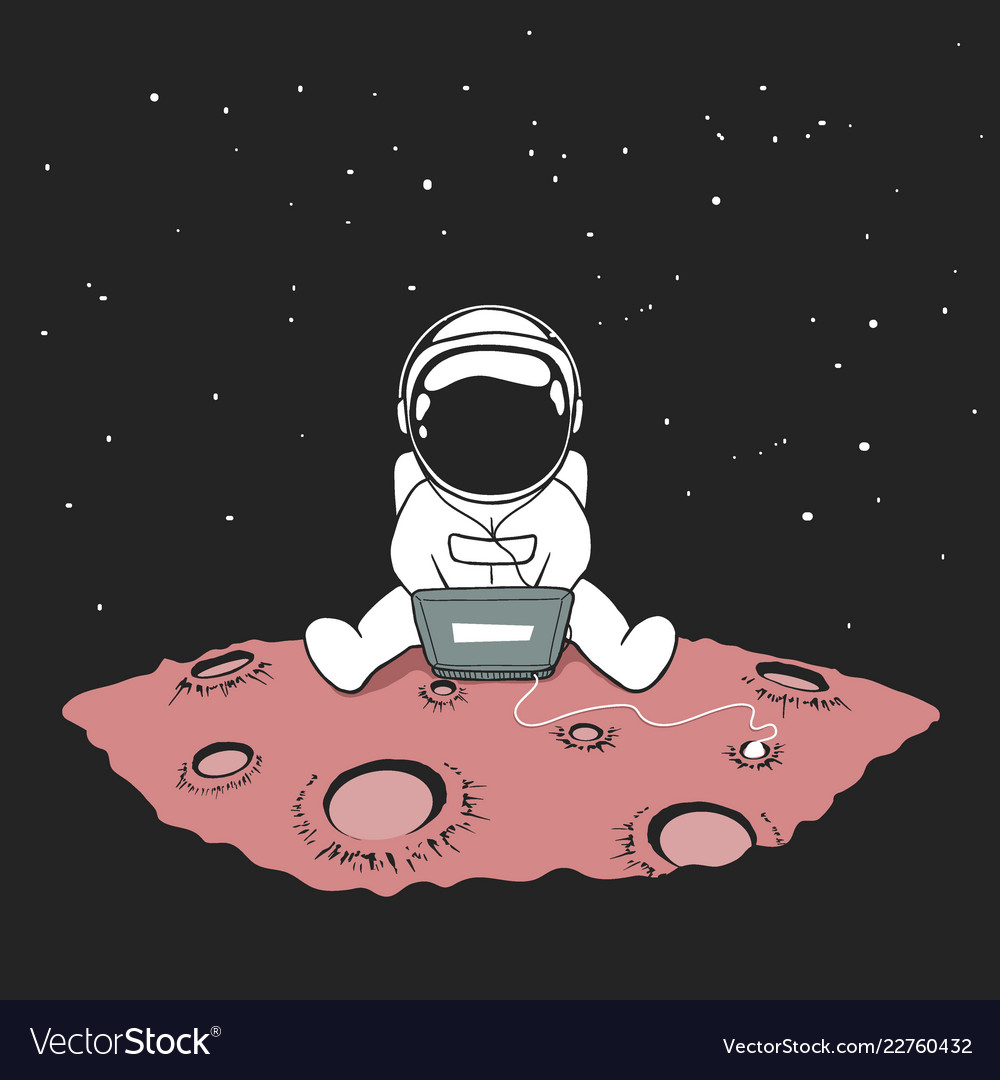 cute an astronaut sits in internet royalty free vector image
