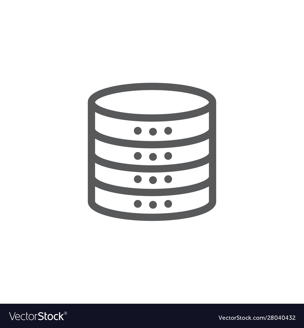 Database icon in line style on white background