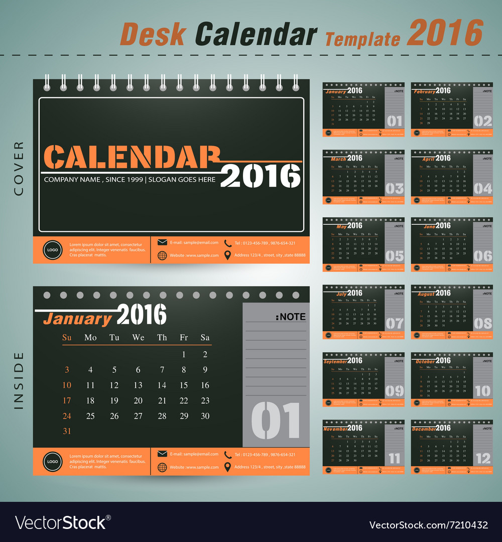 Desk Calendar 2016 Design Template For Company Vector Image