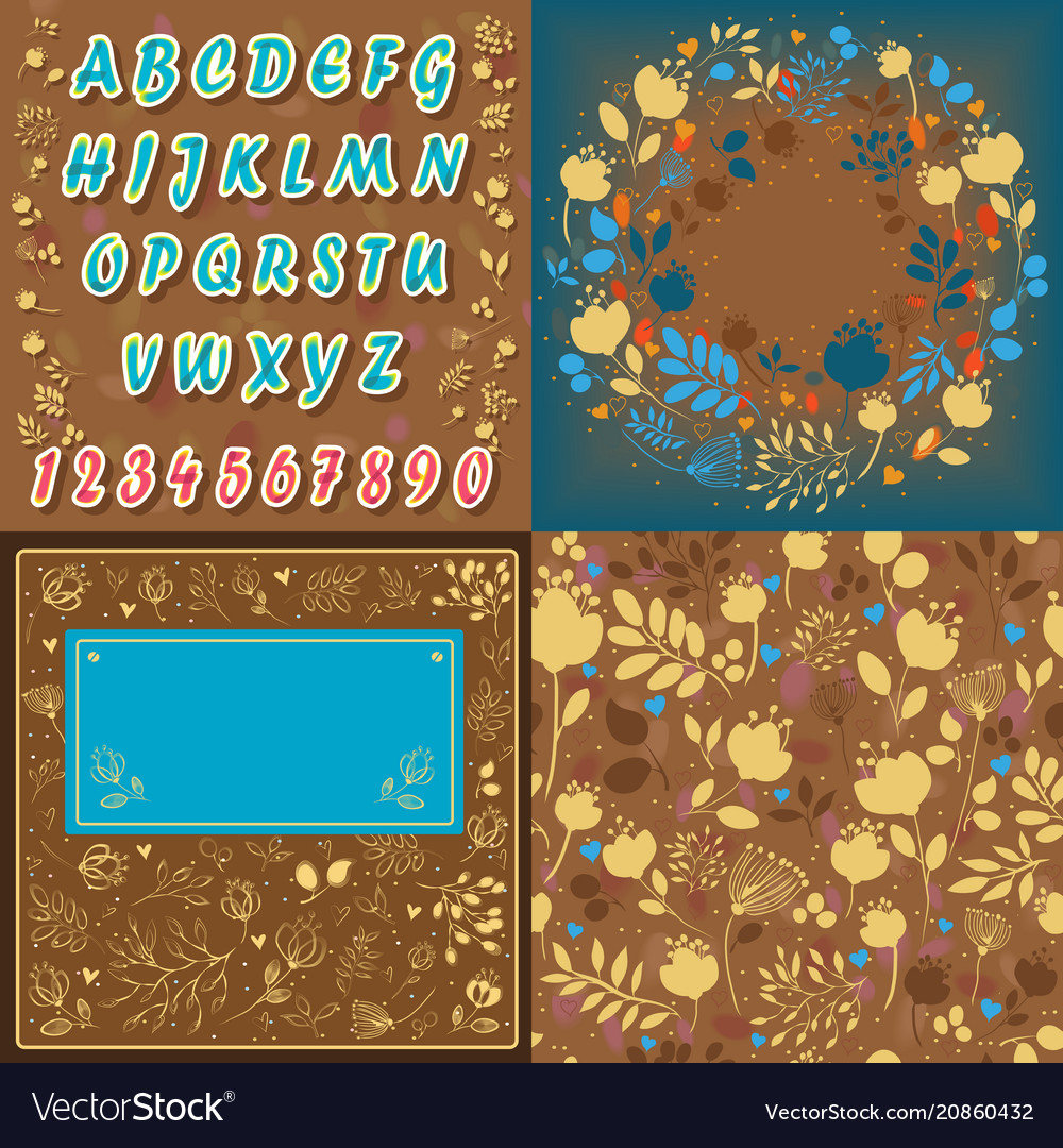 Floral font card background and round pattern