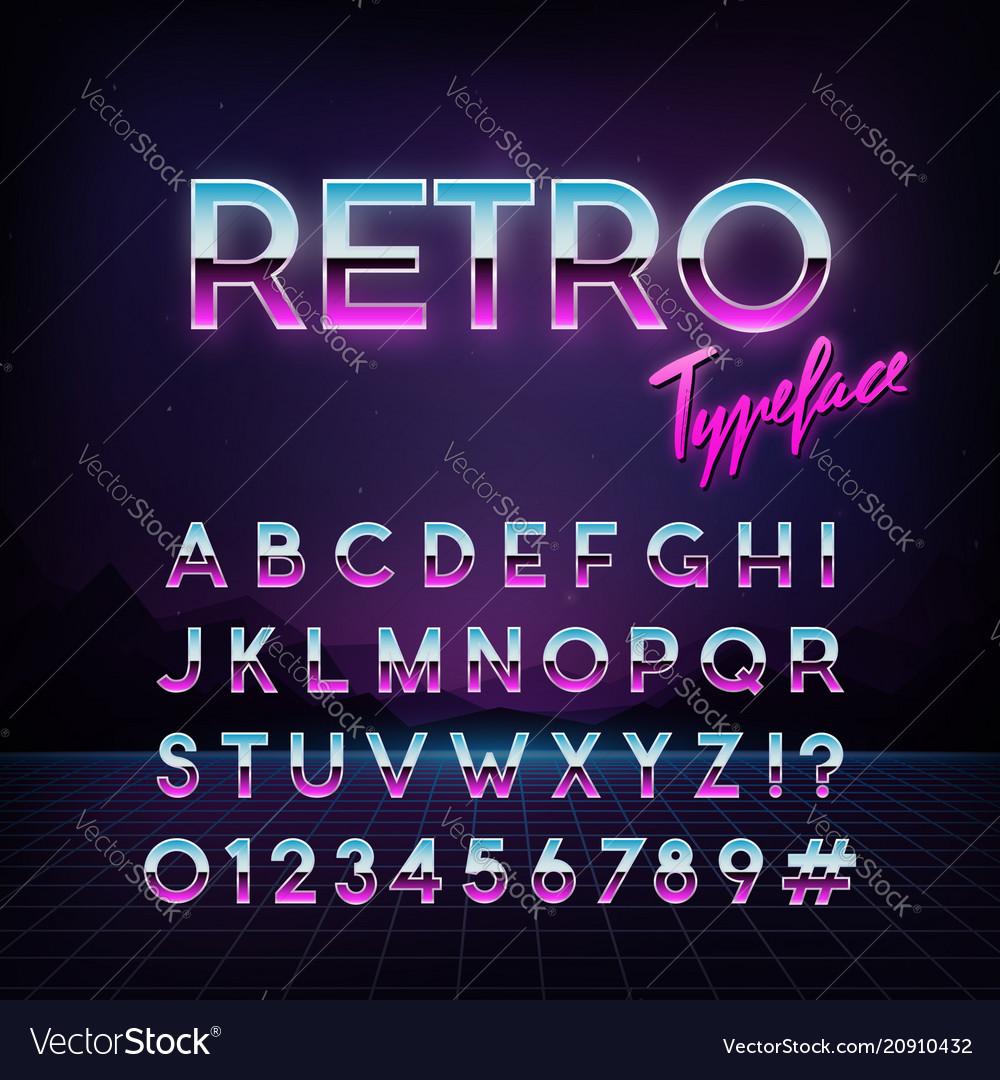 Futuristic retro typeface 80s style alphabet