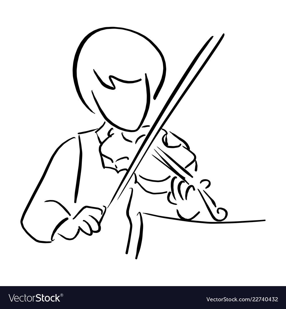 Girl playing violin sketch doodle