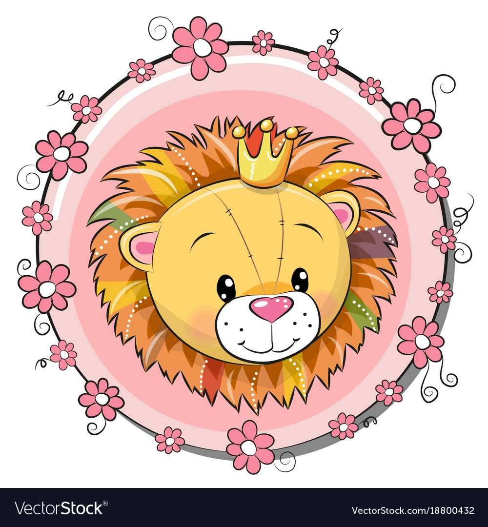 Greeting card cute cartoon lion vector image