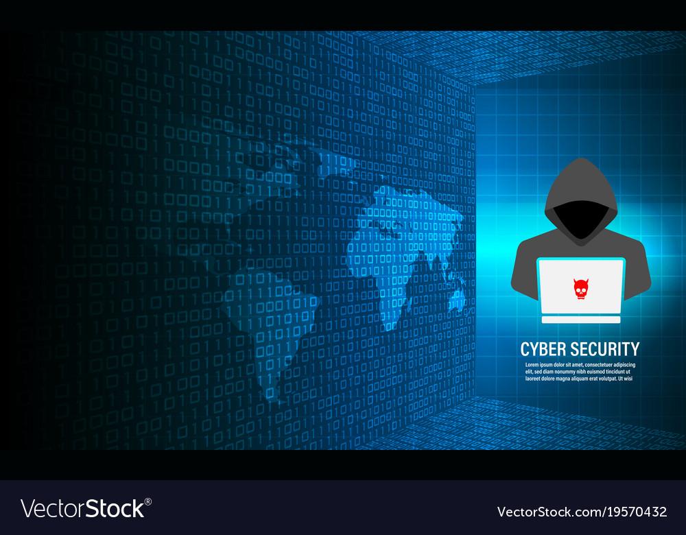 Hacker working on binary code background