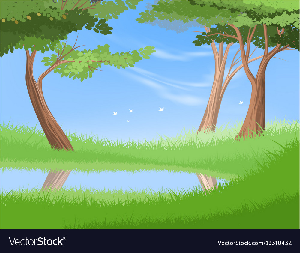 Lake in nature vector image
