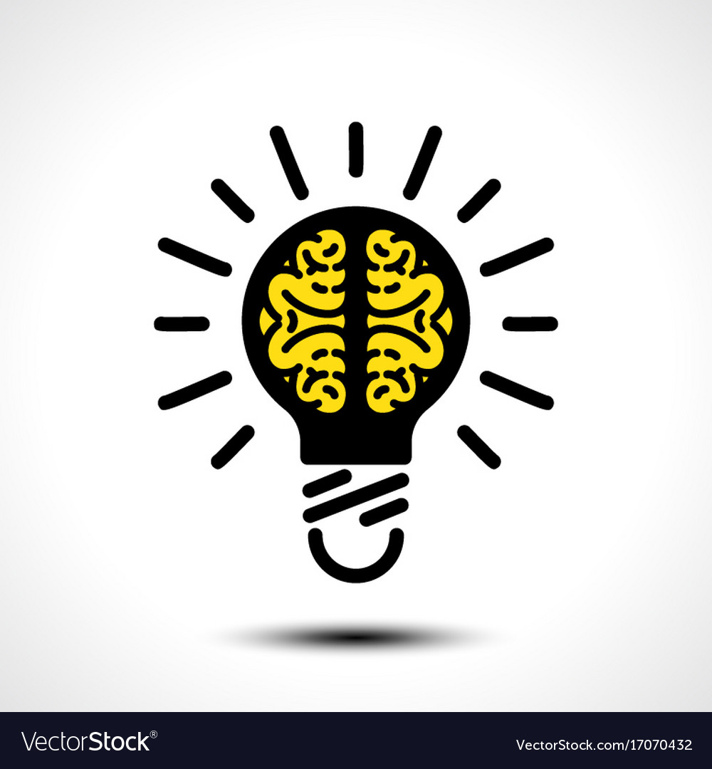 Light bulb idea with brain logo template vector image