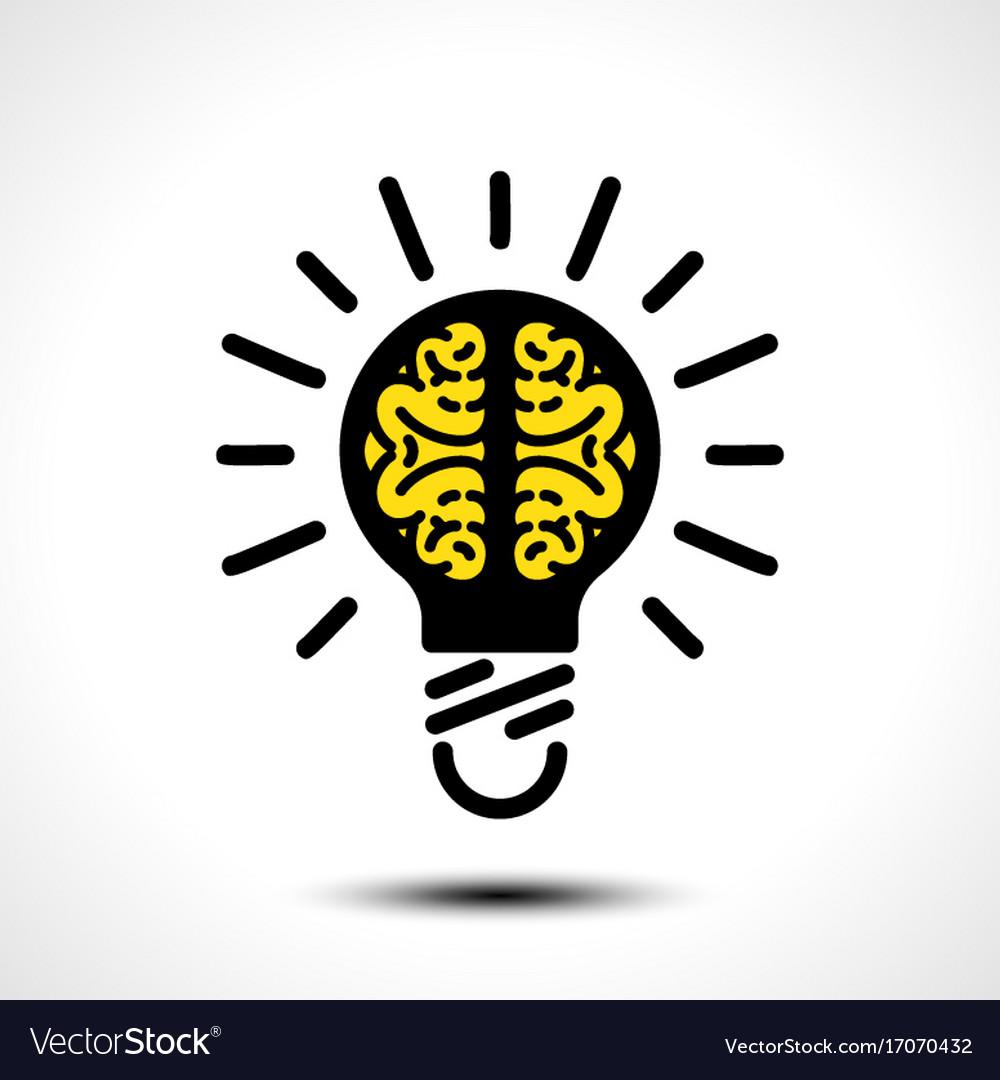 Light bulb idea with brain logo template