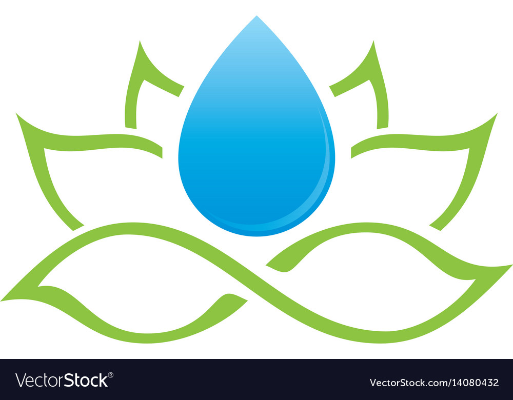 Lotus and water drop logo vector image