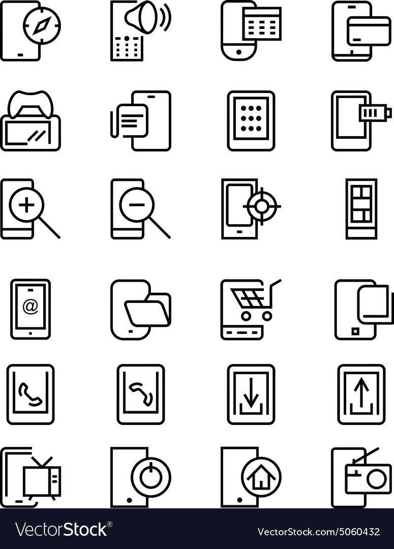 Mobile Line Icons 4 vector image