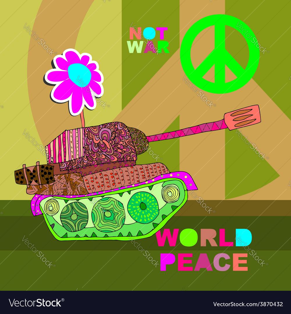 No war postcard poster hippie background world vector image voltagebd Choice Image