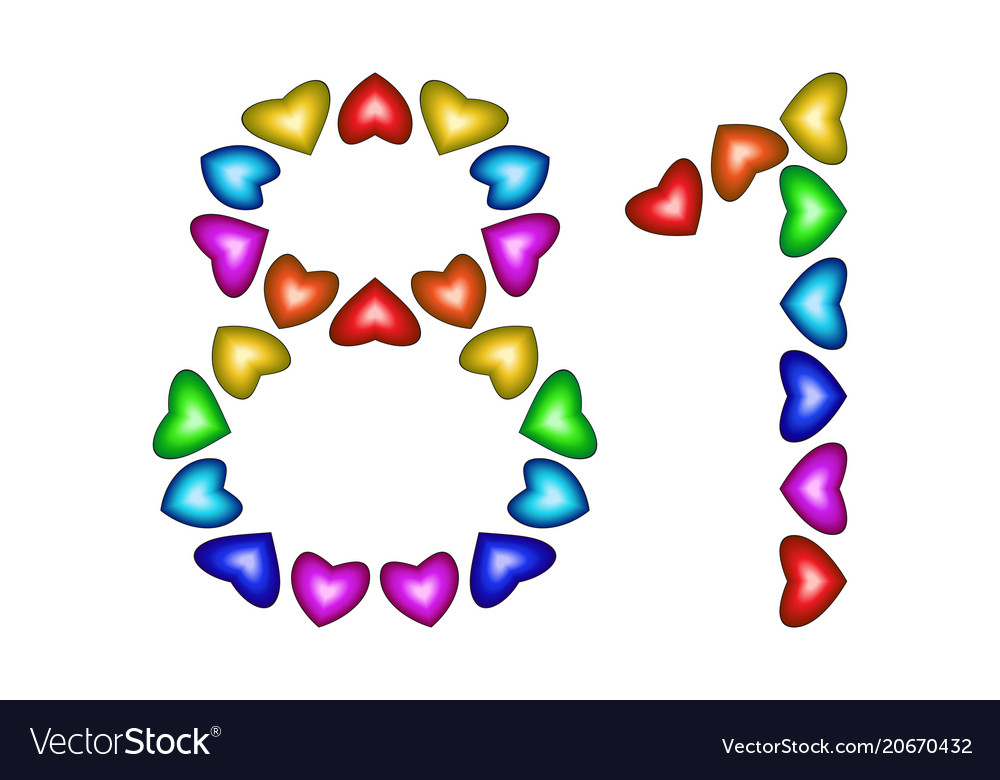 Number 81 eighty one of colorful hearts on white