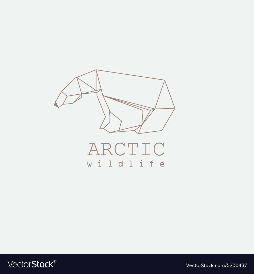 3d origami low polygon polar bear vector image