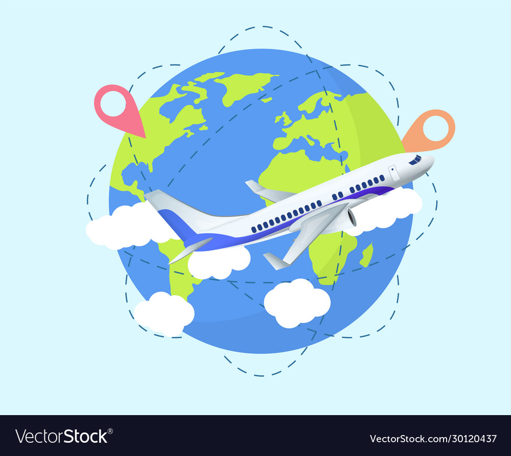 Airplane travel concept with world globe