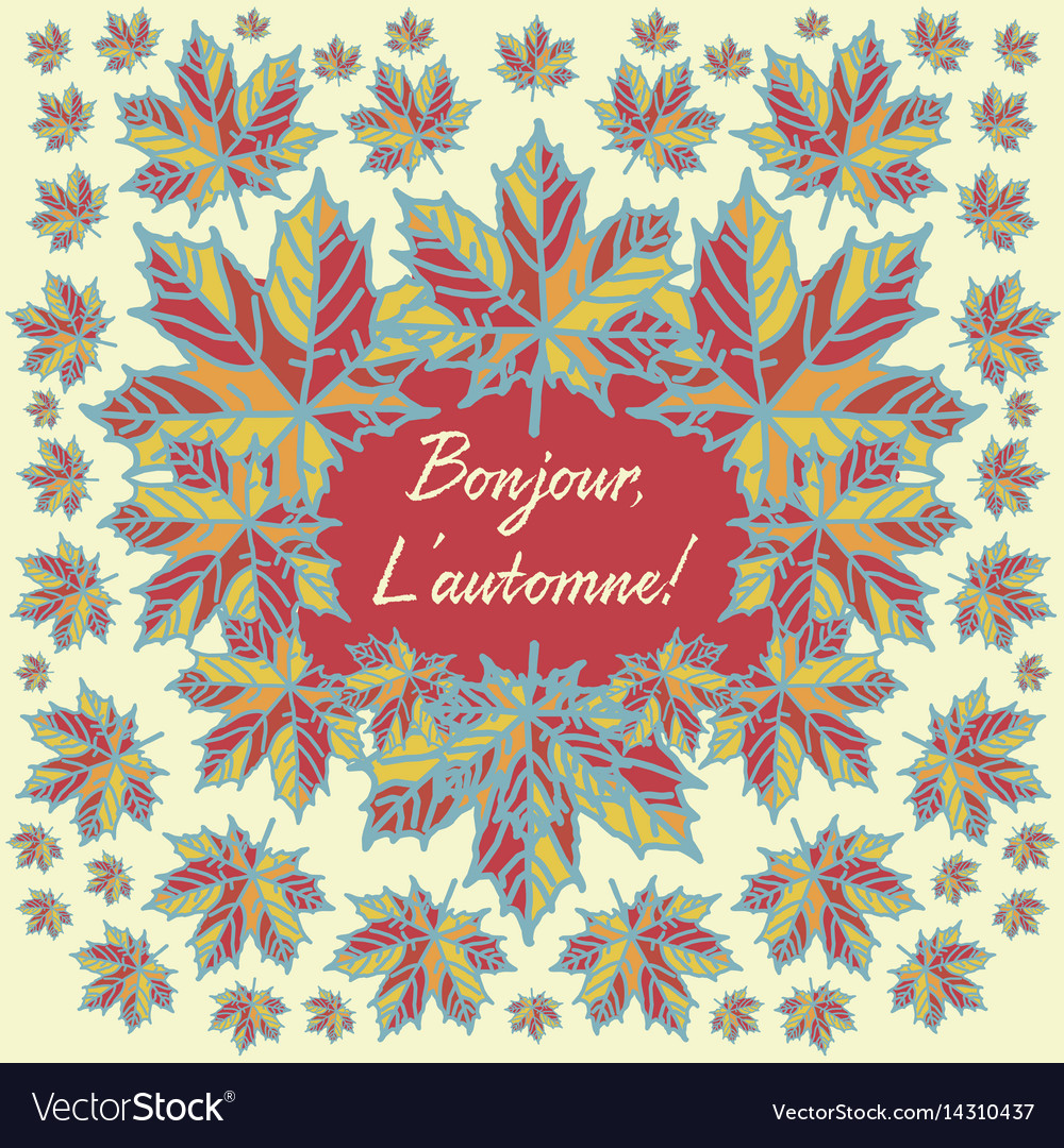 Autumn card with quote in french language