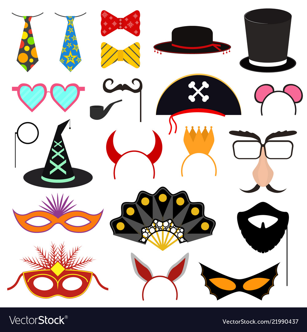 Cartoon color photo booth party icon set