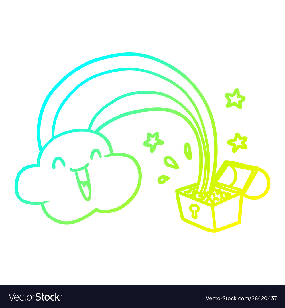 Cold gradient line drawing cartoon rainbow and