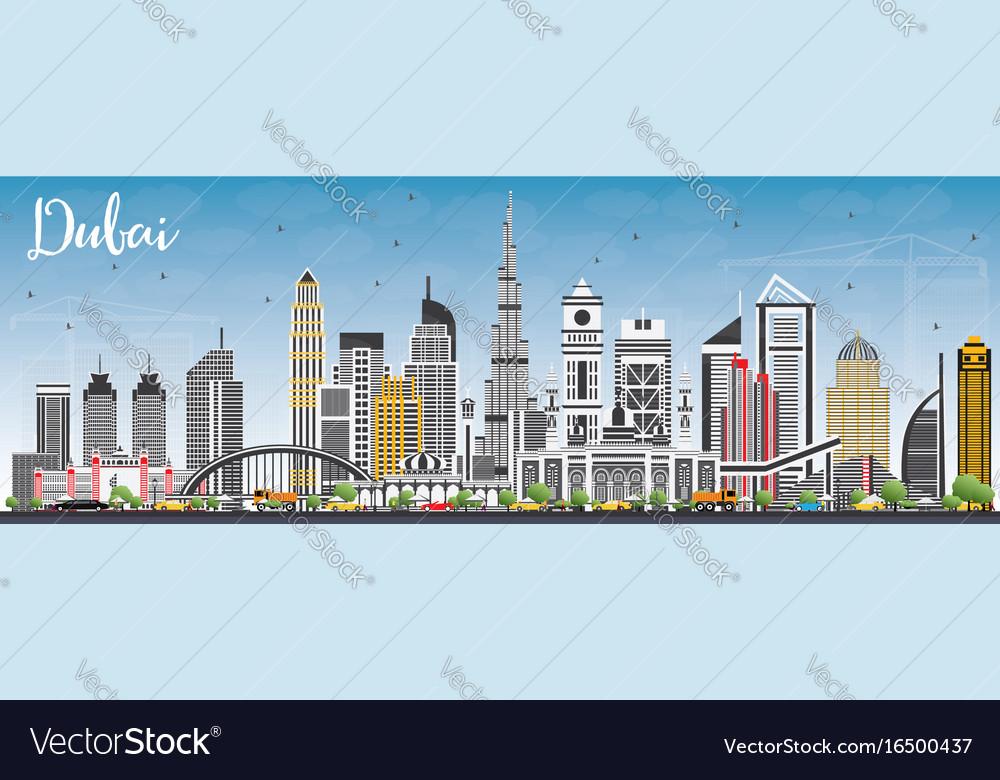 dubai uae skyline with gray buildings and blue sky