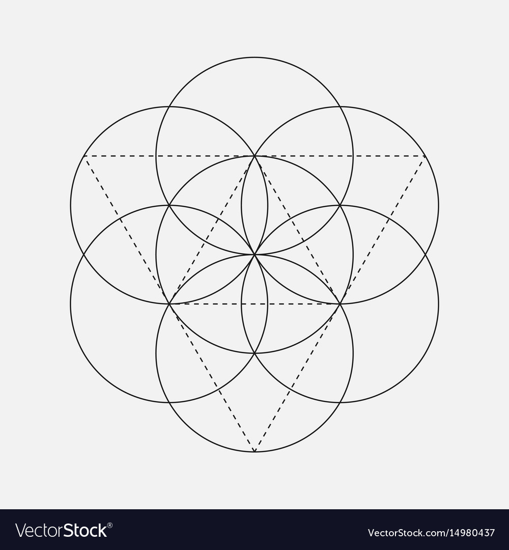Flower Of Life Sign Geometric Symbol Royalty Free Vector