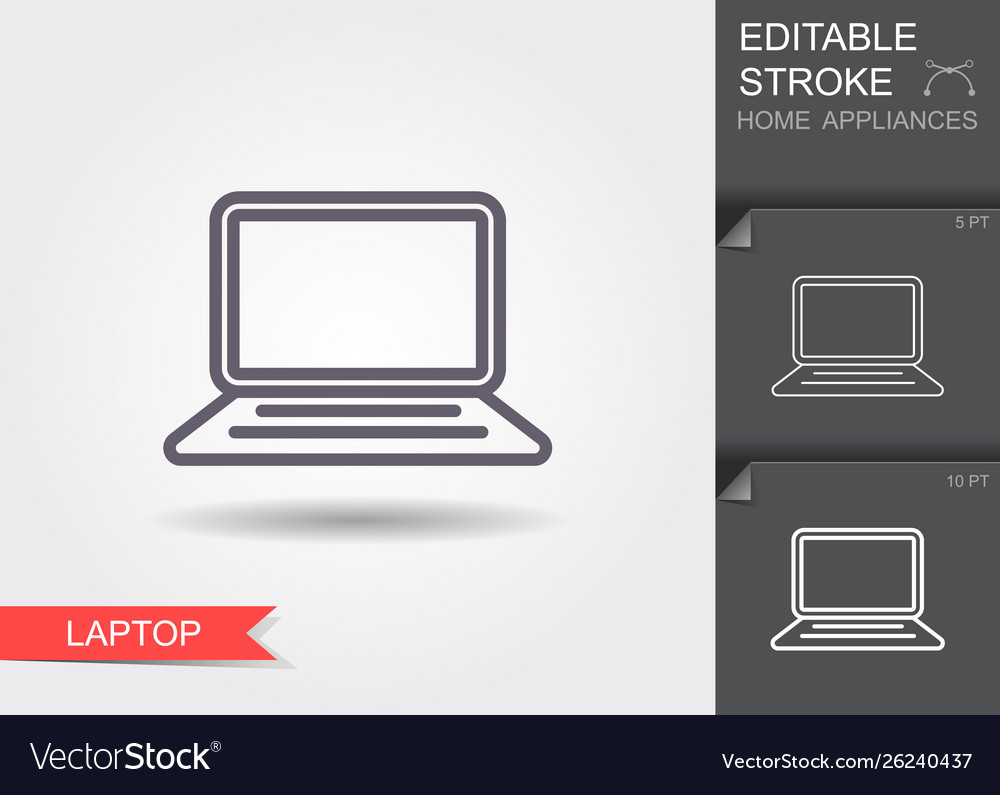 Laptop line icon with editable stroke with shadow
