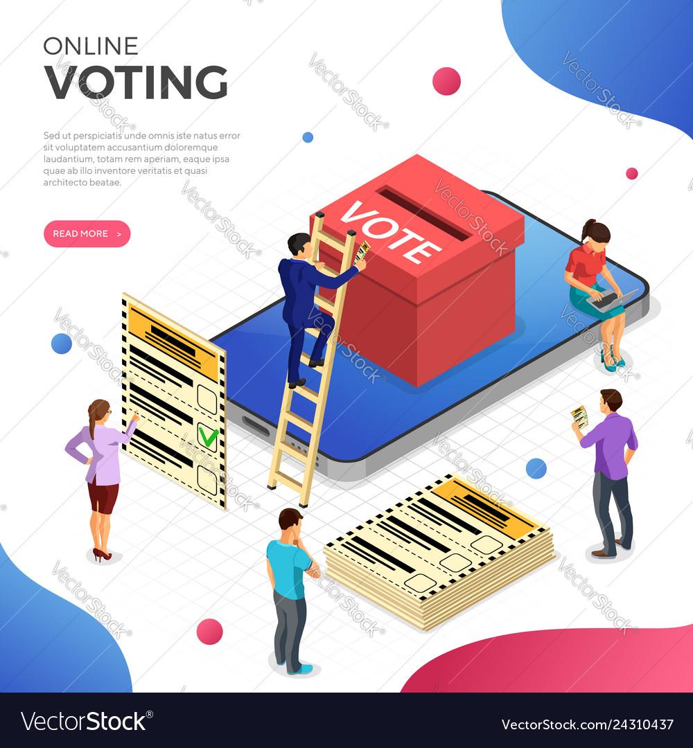 Online internet voting isometric concept
