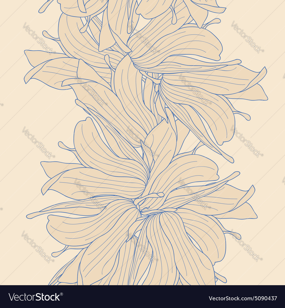 Seamless Border Made Of Magnolia Flowers Vector Image