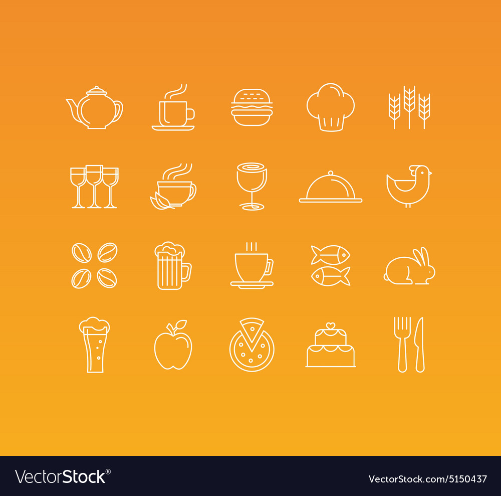 Set 20 icons and sign in mono line style